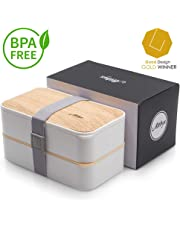 Atthys Lunch Box Bambou Blanc | Bento Japonais Design 3 Couverts Offerts | Bento Box 2 Compartiments Étanches 1200 ML | Micro-Ondes et Lave-Vaisselle | Boîte Déjeuner Bois Adultes ou Enfants Premium