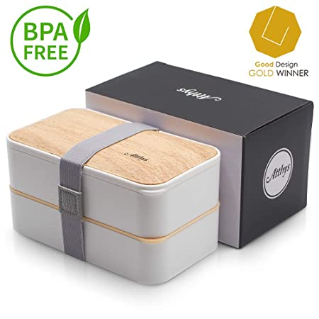 Atthys Fiambrera Bento Bambú Blanco | Bento Japonés Design 3 Cubiertos de Regalo | Bento Box 2 Compartimentos Estancos 1200 ml | Microondas y ...