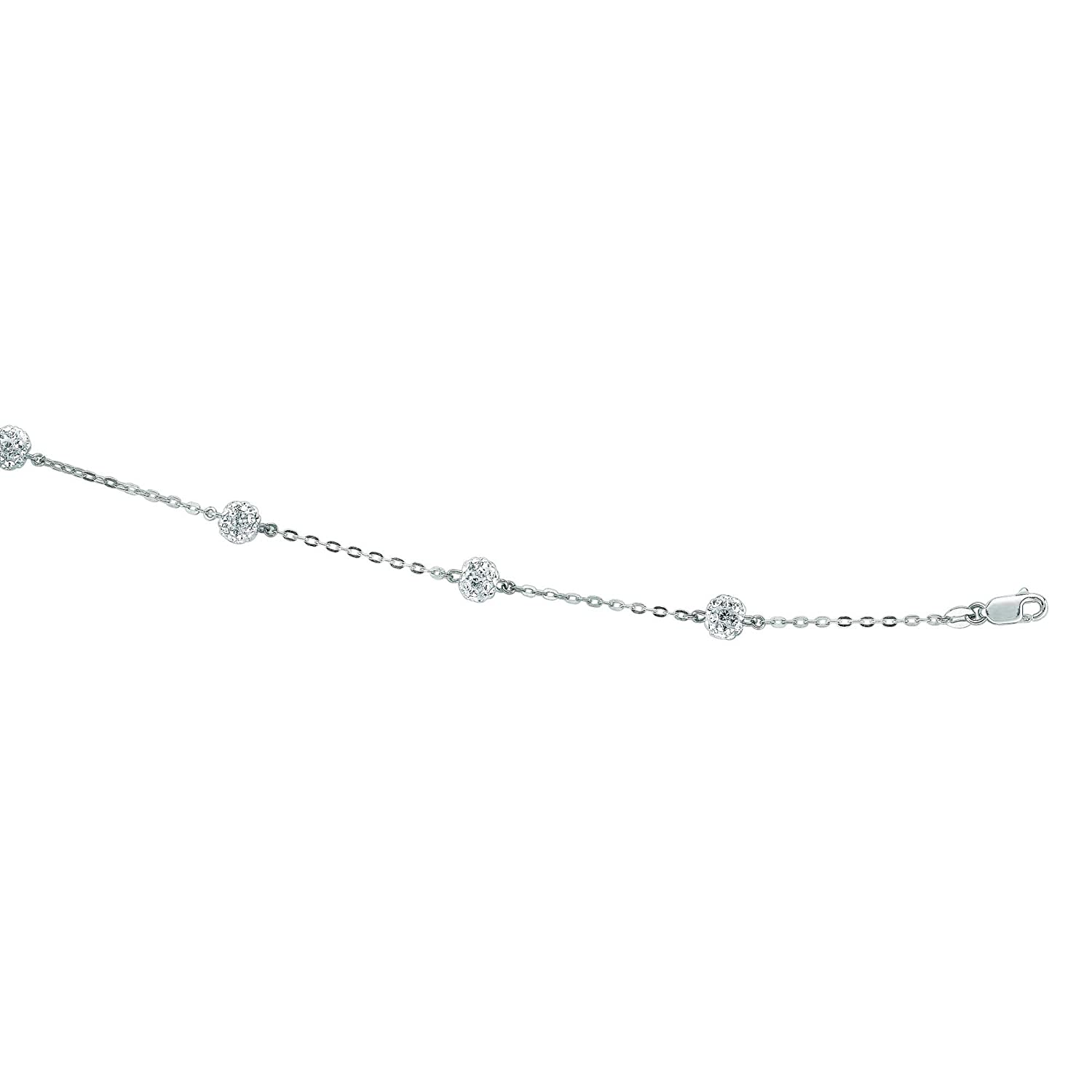 14K White Gold Shiny Cable Chain Link White Crystal Ball Bracelet or Necklace Lobster Clasp by IcedTime