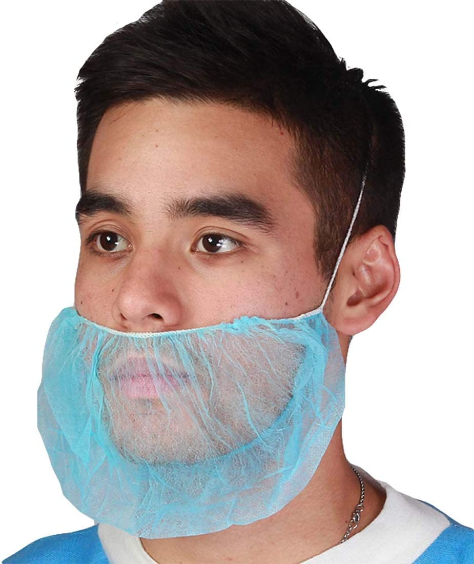 "ABC Pack of 100 Blue Polypropylene Beard Covers 18"". Disposable Beard Guards. Industrial Grade Beard Net Protectors. Honeycomb Beard Nets. Facial Hair Covering. Breathable & Lightweight. Wholesale. - -"