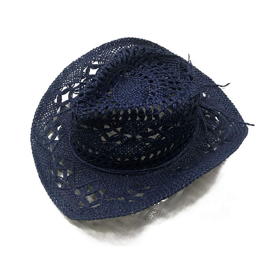 August Jim Mens Straw Hats Summer Beach Hollow Western Cowboy Sun Caps Unisex