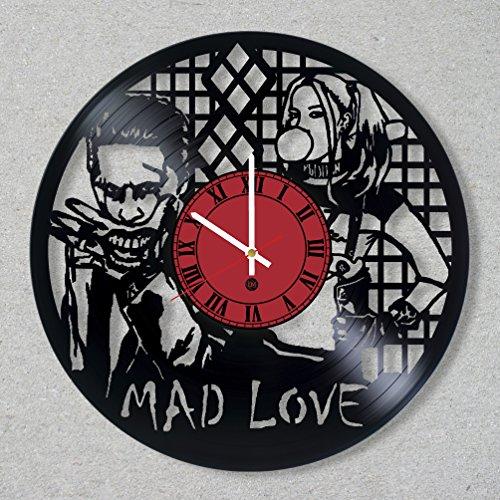 Vinyl Record Wall Clock Joker Leto Harley Quinn Arkham Asylum Gotham decor gift ideas for friends him her boys girls World Art Design]()