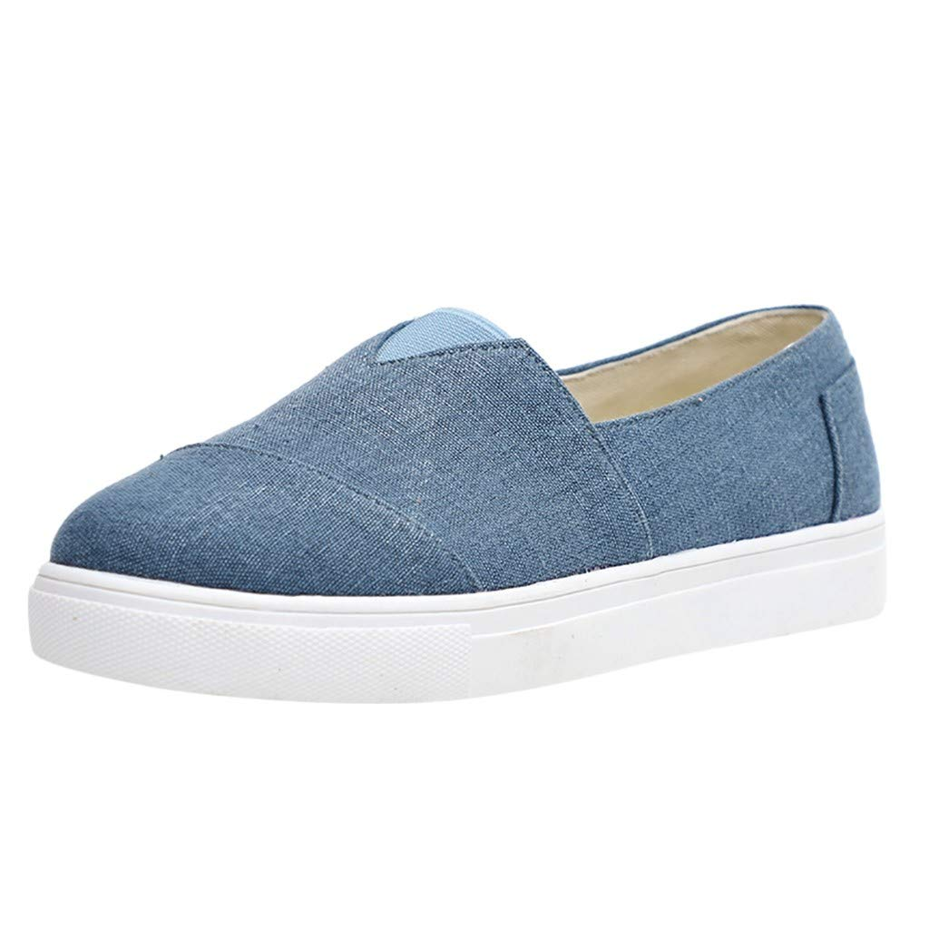 Kauneus Women's Fashion Classic Sneakers Slip On Loafers Casual Sport Athletic Shoes Flats Dark Blue