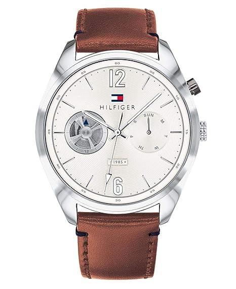 Tommy Hilfiger Reloj Multiesfera para Hombre de Cuarzo con Correa en Cuero 1791550: Amazon.es: Relojes