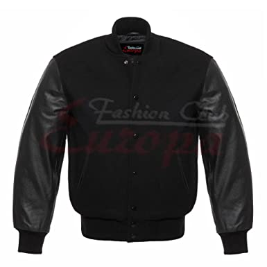 3d8322cb07648 Men s Real Leather Wool Varsity Letterman Jacket All Black(5XL) at ...