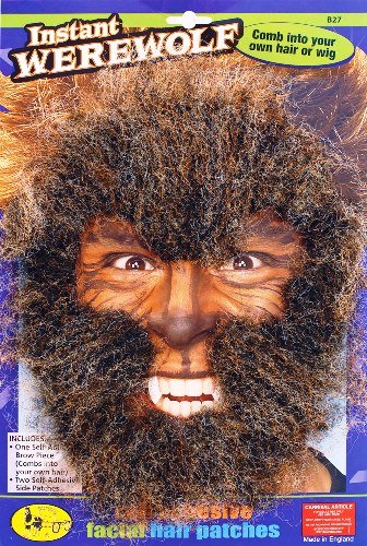 Werewolf Instant Halloween Facial Hair Fancy Dress Accessory -