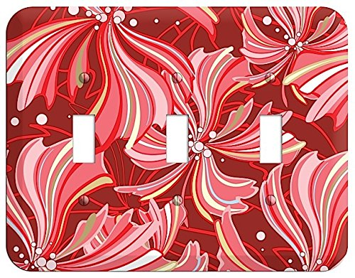 (Red Deco Blossoms Triple Toggle Switchplate)
