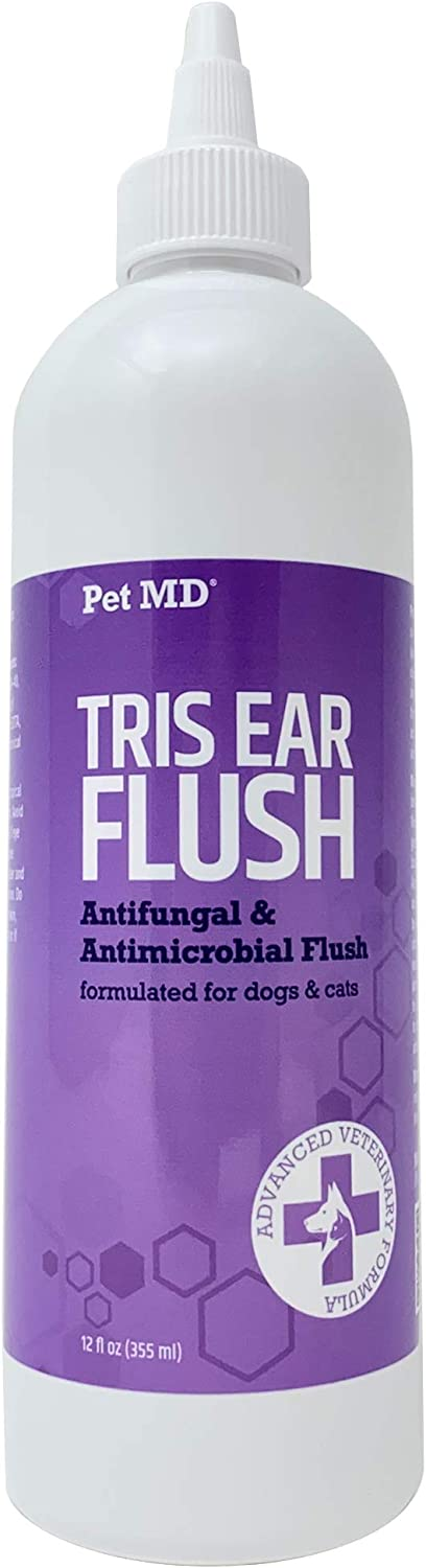 Pet MD Veterinary Tris Flush Cat & Dog Ear Cleaner - Dog Ear Infection Treatment w/Ketoconazole for Yeast Infection Treatment, Ear Mites & Fungal Infections – Perfect for Dog Grooming Kit - 12 oz