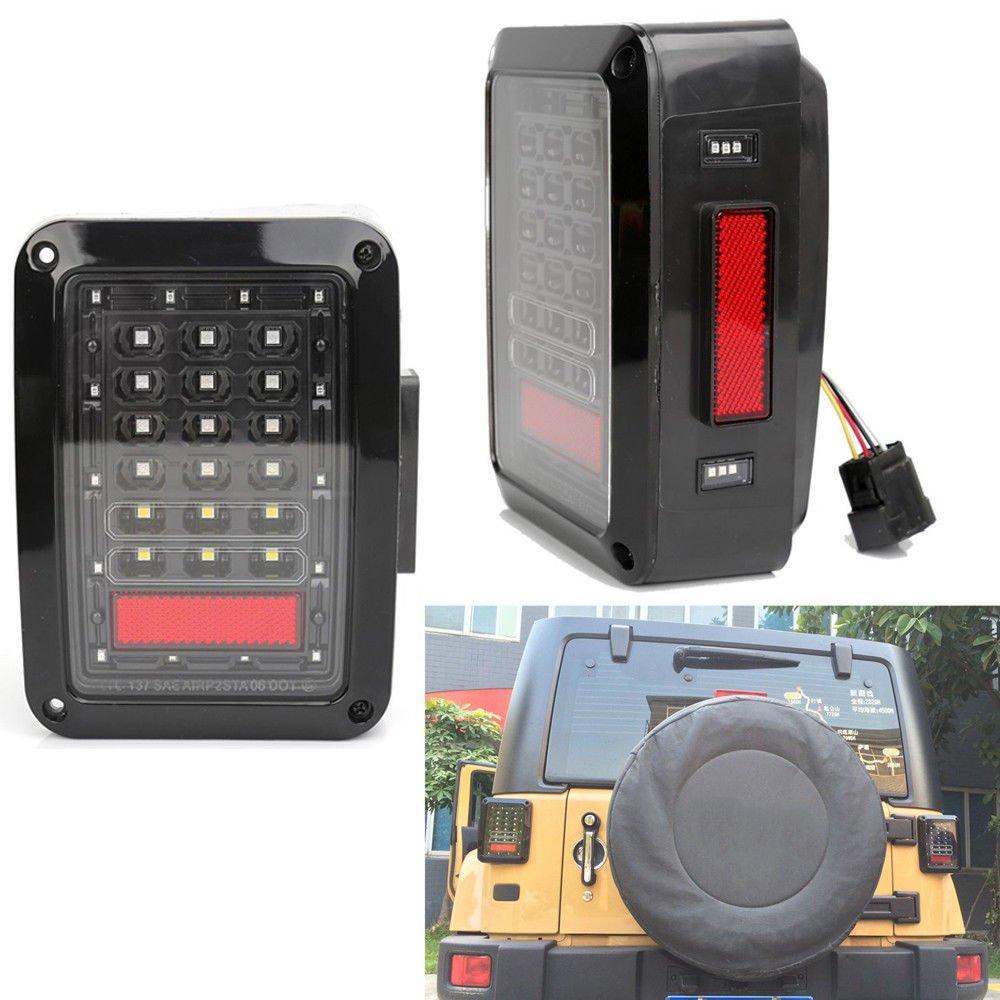 Hozan 2 x Clear Lens LED DRL Brake Light Turning Signal Tail Lamp Assembly for Jeep Wrangler JK/JKU 2007-2017
