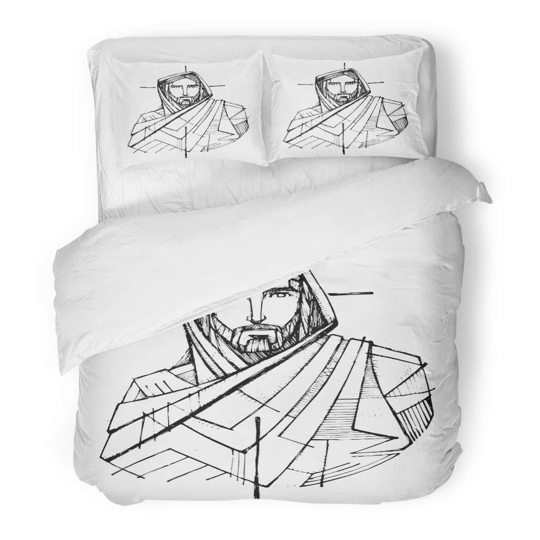 SanChic Duvet Cover Set Beard Ink Drawing Jesus Christ Cross Catholic Christian Divine Decorative Bedding Set 2 Pillow Shams King Size