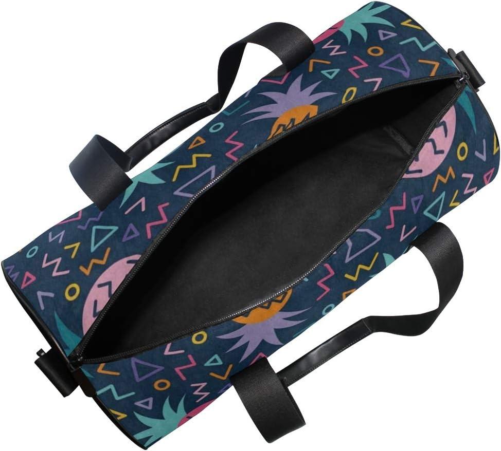 Gym Bag Geometric Line Pineapple Women Canvas Duffel Bag Cute Sports Bag for Girls