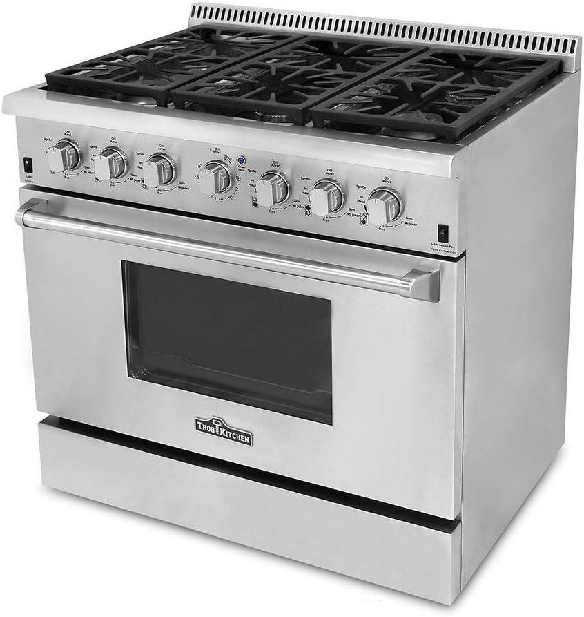 Amazon Com Thor Kitchen Hrg3618u 36 Pro Style 6 Burner Stainless Steel Gas Range Appliances