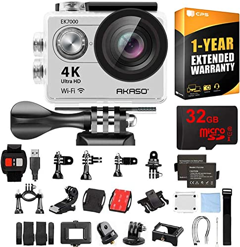 AKASO Ultra HD Waterproof Sports Action Camera EK7000 with Sports Camera Starter Kit Bundle with 32GB MicroSD High-Speed Memory Card and 1 Year Extended Warranty