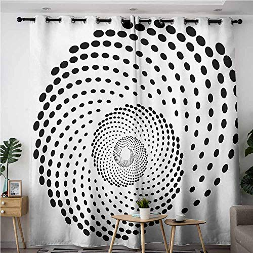 (VIVIDX Window Curtain,Spires Minimalist Spiral Shape Dotted Monochrome with Swirling Twisting Helix Form Design,Blackout Draperies for Bedroom,W108x108L,Black White)