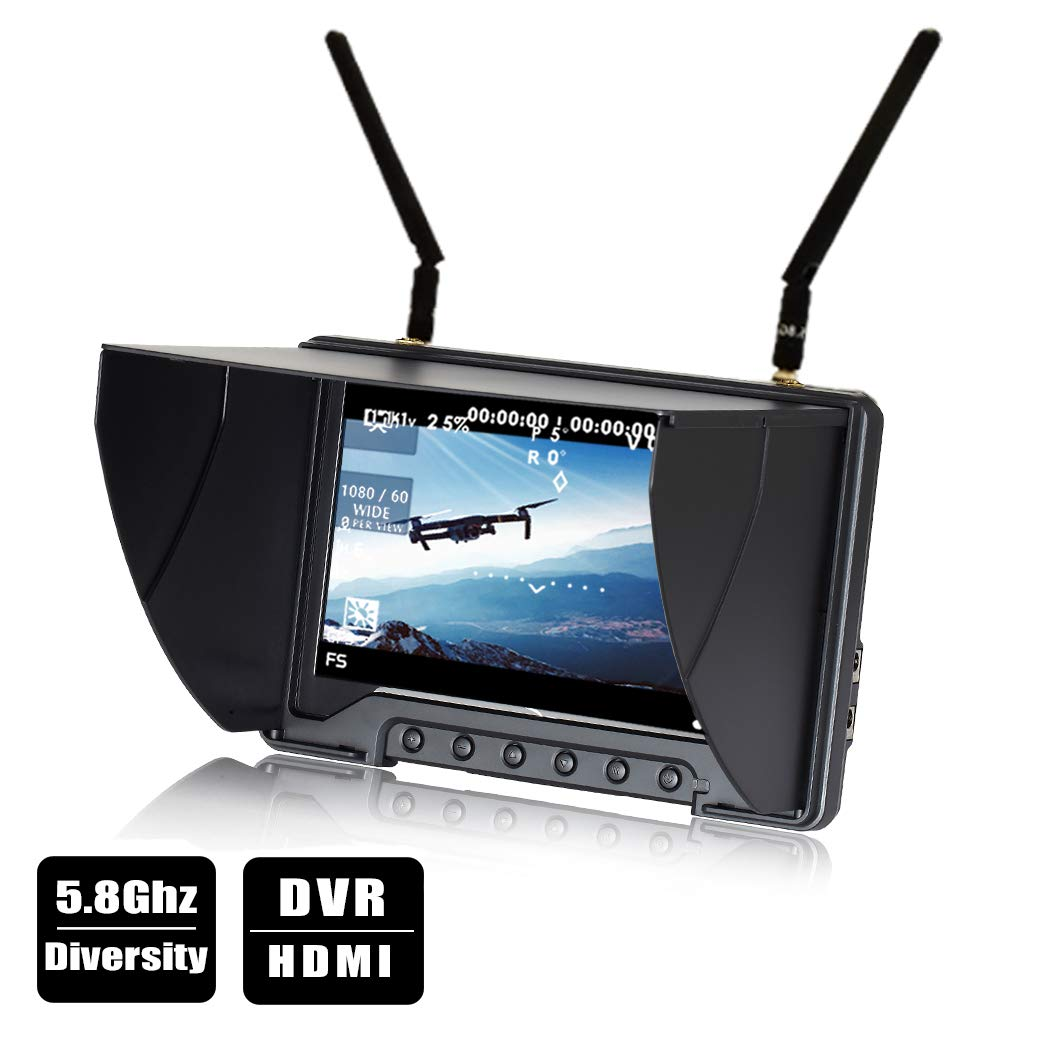 Flysight FPV Monitor Black Pearl RC801 with DVR 5.8G 40CH Wireless 7'' LCD Screen Diversity Receiver 1024 x 600 HD Display Built in Battery Sunshade Hood for RC Quadcopter DJI Flying Wing (RPSMA ANT)