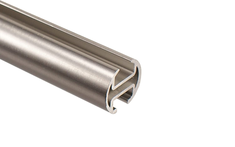 Edelstahl Optik Gardinenstange mit Innenlauf Innenlauf Innenlauf 2-läufig 20 mm Endstück Kugel, 240 cm (2 x 120 cm) 6319b6