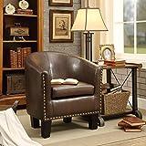small leather club chair Rosevera C2BN Duilio Club Chair, Brown