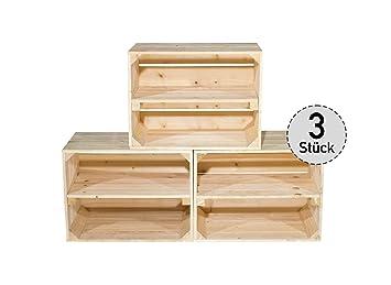 Juego de 3 Claro caja de madera para zapatero/estante – Natural Sin Tratar –