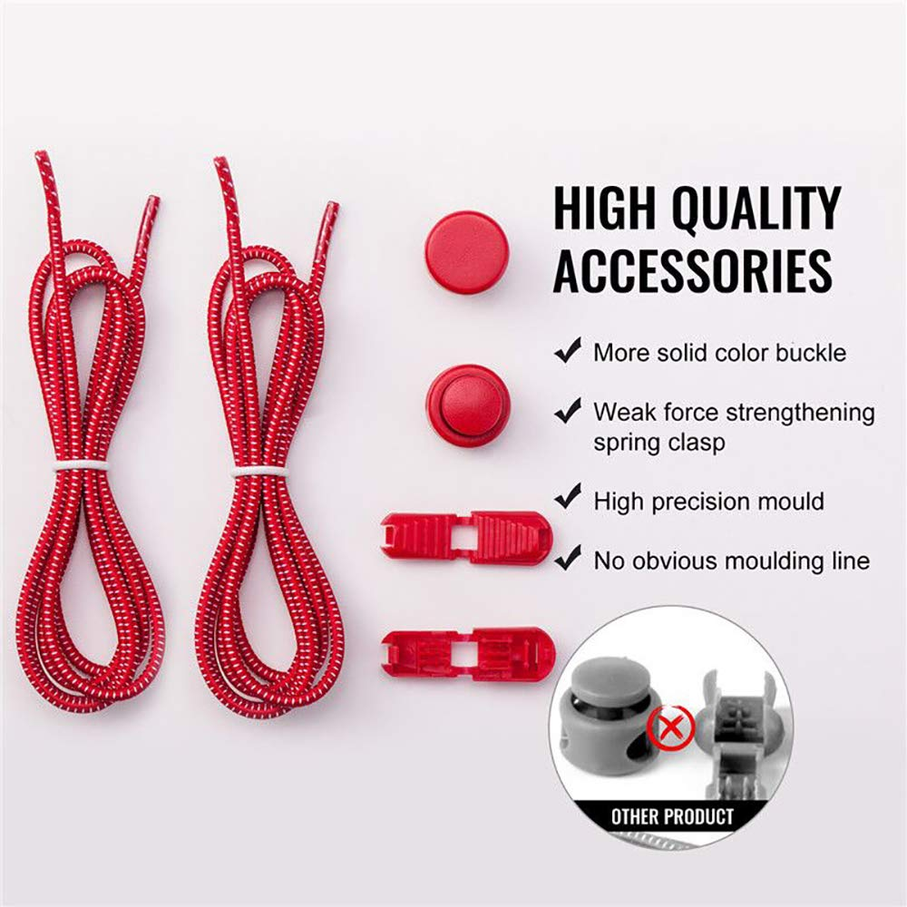 Adjustable Tieless Rubber Shoe Laces Strings for Sneakers Boots Board and Casual Shoes Elastic Shoe Laces for Kids and Adults No tie Shoelaces with Lock Device
