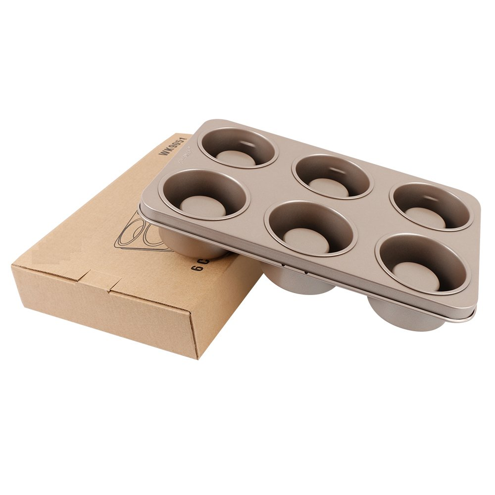 Momugs Non-stick Cake Mold Carbon Steel 6 Cup Muffin Pan Cupcake Pan Baking Pan 12 x 8 inch,Double-sided Use Pan for Home Kitchen Roasting Bakeware Oven
