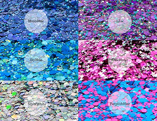 HITOP Colorful Cosmetic Chunky Glitter Festival Beauty Makeup Decoration for Body Face Nail Hair Eyes or Lips &DIY Crafts- Includes Long Lasting Free Fix Primer (6 Colors Set4) by HITOP (Image #7)
