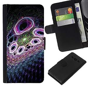 JackGot ( Viola astratto ) Samsung Galaxy A3 la tarjeta de Crédito Slots PU Funda de cuero Monedero caso cubierta de piel