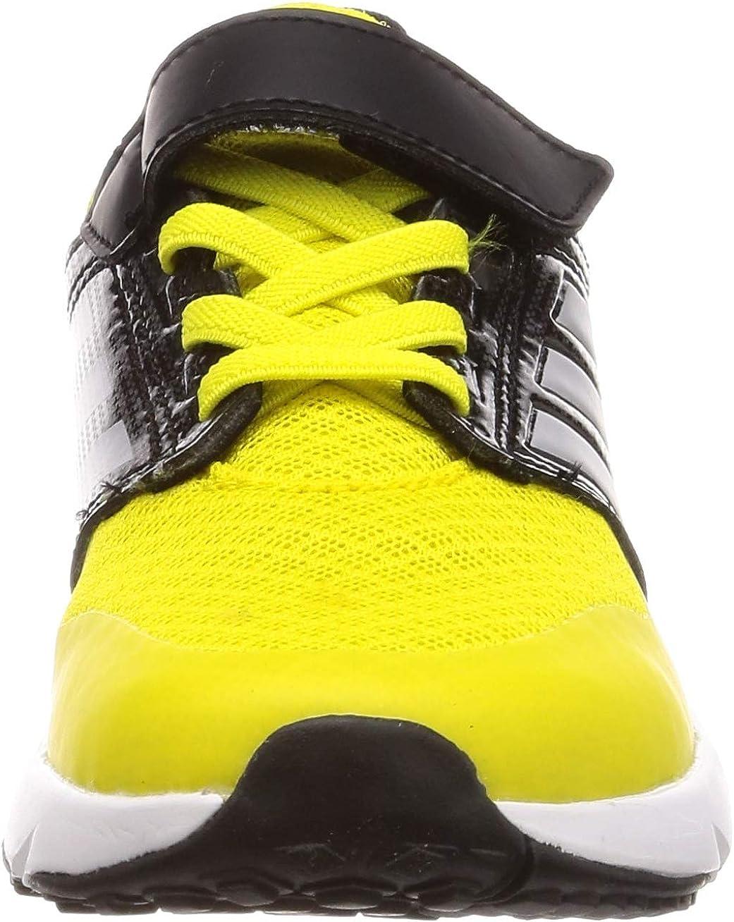 adidas Fortafaito El K, Chaussure de Course Mixte Enfant Choc Jaune Argent Met Core Noir