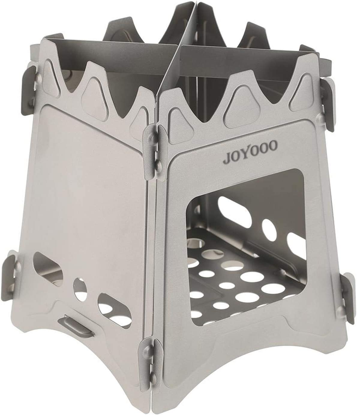 JOYOOO Ultralight Camping Stove Weighs 7.3 OZ, 100 Pure Titanium Wood Burning Camping Stove Portable Foldable for Camping, Backpacking, Hiking, and Bushcraft Survival, Stronger Lighter VS Steel