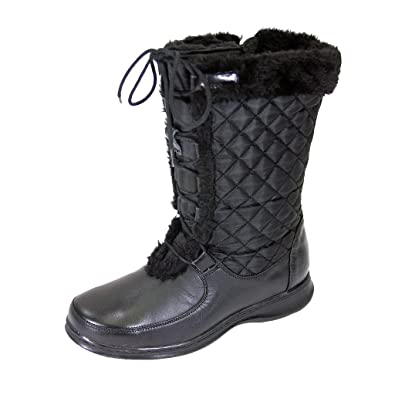 FIC PEERAGE Gabby Women Wide Width Leather/Nylon Adjustable Lace/Zipper Boot (Size & Measurement Guides)