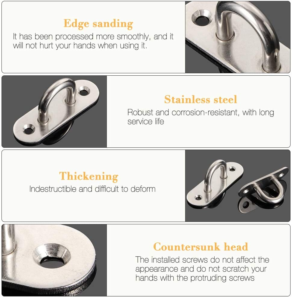 8 Pcs Oblong Pad Eye Plate Metal Staple Ring Hook With 2 Holes for Marine Hardware Staple Hook Loop Hanging Flower Pots /& Fencing Gobesty Stainless Steel Eye Plate