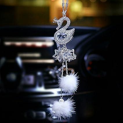 Amazon Com Car Ornaments Upscale Crystal Swan Cute Women Girls Mink