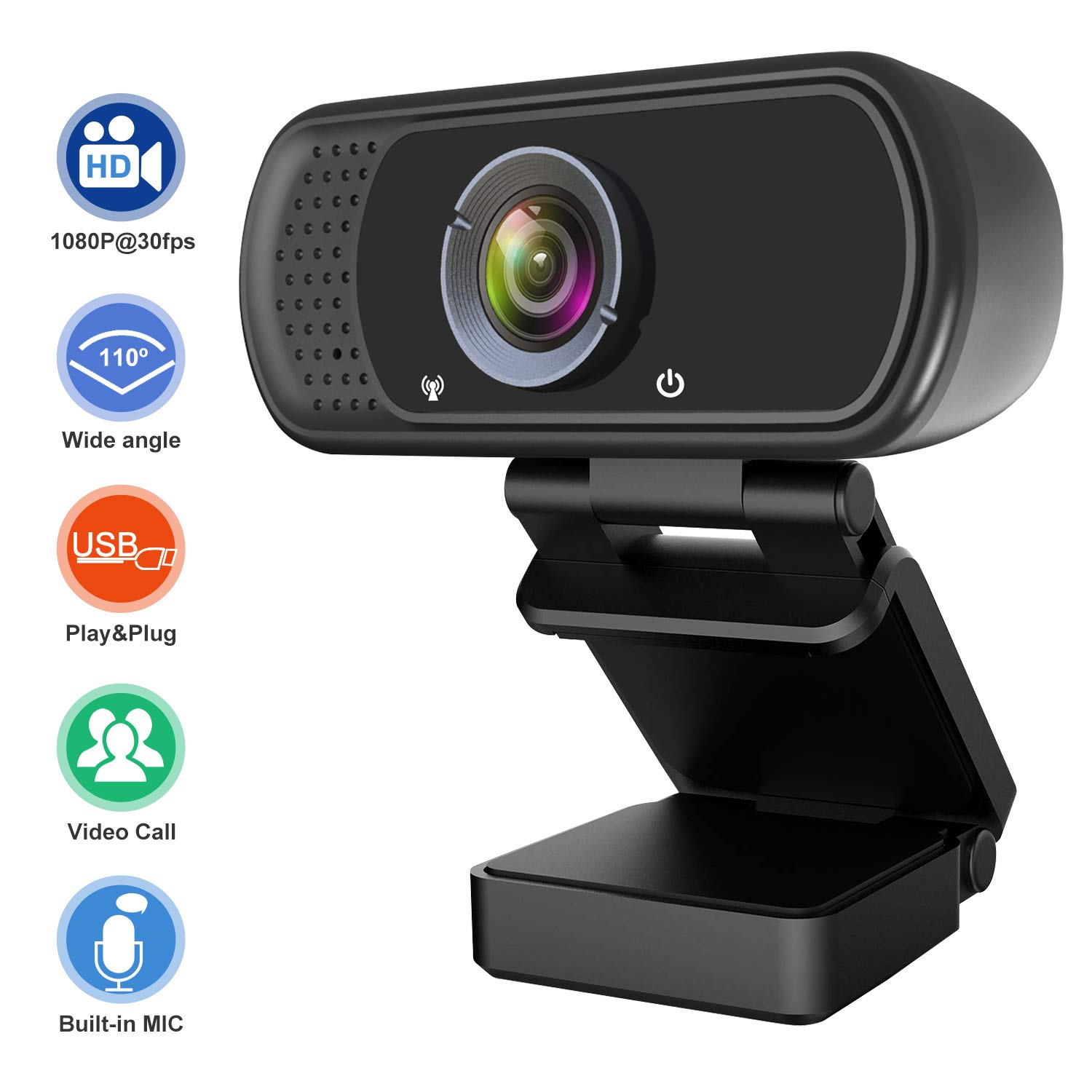 1080P Webcam, Hrayzan Live Streaming Computer Web Camera with Stereo Microphone, Desktop or Laptop USB Webcam with 110-Degree View Angle, HD Webcam for Video Calling Recording Conferencing by Hrayzan