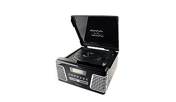 Tocadiscos negro retro grabador a MP3, Radio AM, FM y lectores de CD, USB y tarjetas SD