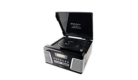 Tocadiscos negro retro grabador a MP3, Radio AM, FM y lectores de ...