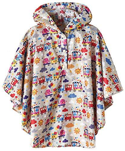 Kids Waterproof Rain Poncho Jacket Animal Train X-Large