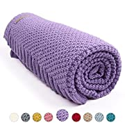 MiMiXiong Toddler Blankets Baby Knit Blankets For Boys and Girls (Purple)