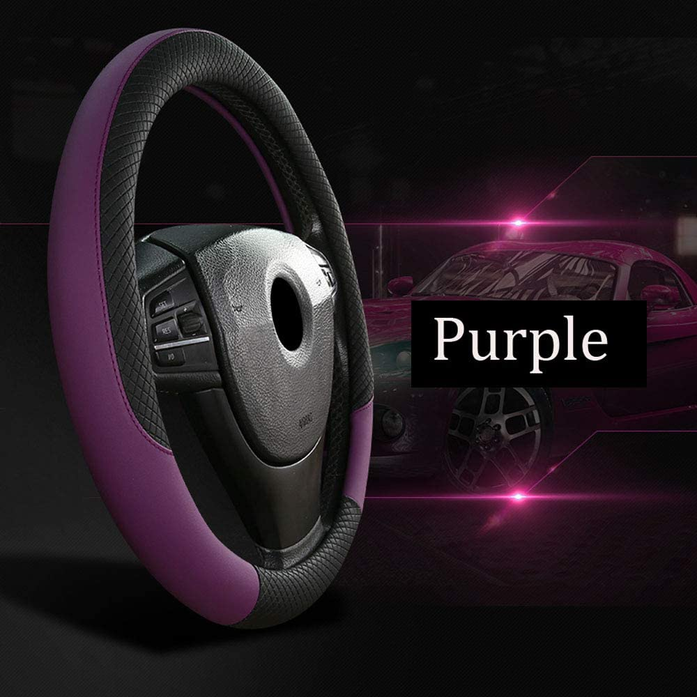Xmomx Microfiber Leather Steering Wheel Covers Anti-Silp Steering Wheeling Covver for Universal Auto Car 15 inch