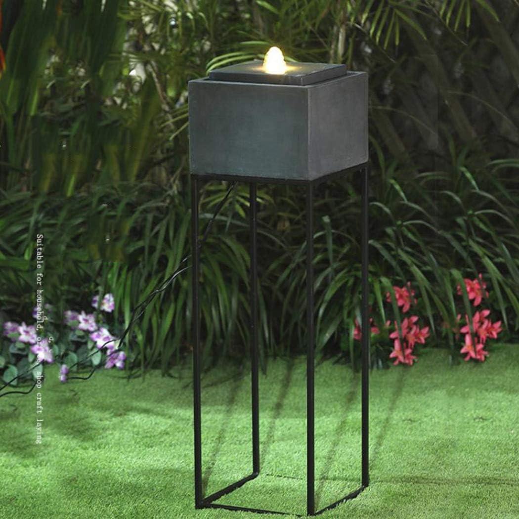 PZON Fuente de jardín/Fuente de Agua de hormigón Soporte de Hierro Forjado Feng Shui Entrada del Patio Decoración Agua Corriente Buena Suerte Mantener al Aire Libre/al Aire Libre