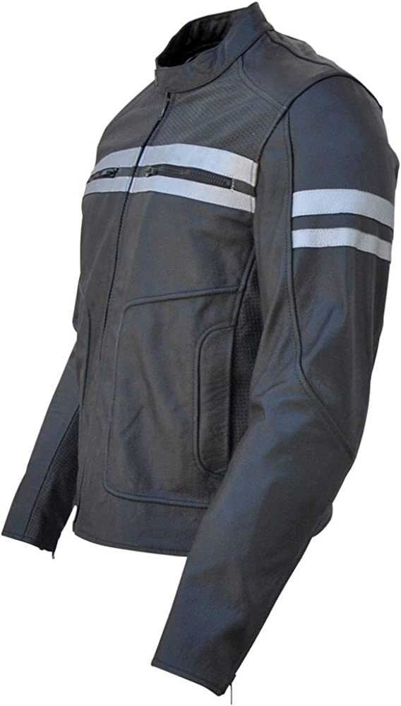 Perforated Panels /& Protection Xs-5xl Classyak Motorcycle Leather Jacket