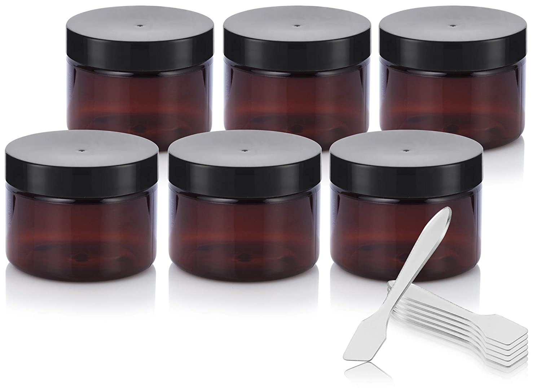 Amber PET Plastic BPA Free Refillable Low Profile Jar – 3 oz 6 Pack Spatulas