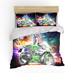 N/E 3D Cross-Country Motorcycle Pattern Boys Duvet Cover Set Extreme Sports Design Kids Children 3 Piece Bedding Set Yellow Adventurous Style Bedding Collection (2,Queen)