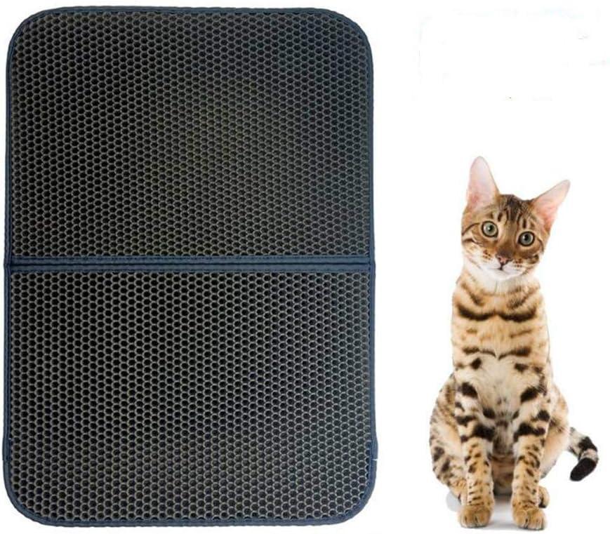 FXxswey Cat Litter Pad, Doble Capa Impermeable Alfombrilla Gato con, para Proteger el Suelo y la Alfombra (55 * 70cm)