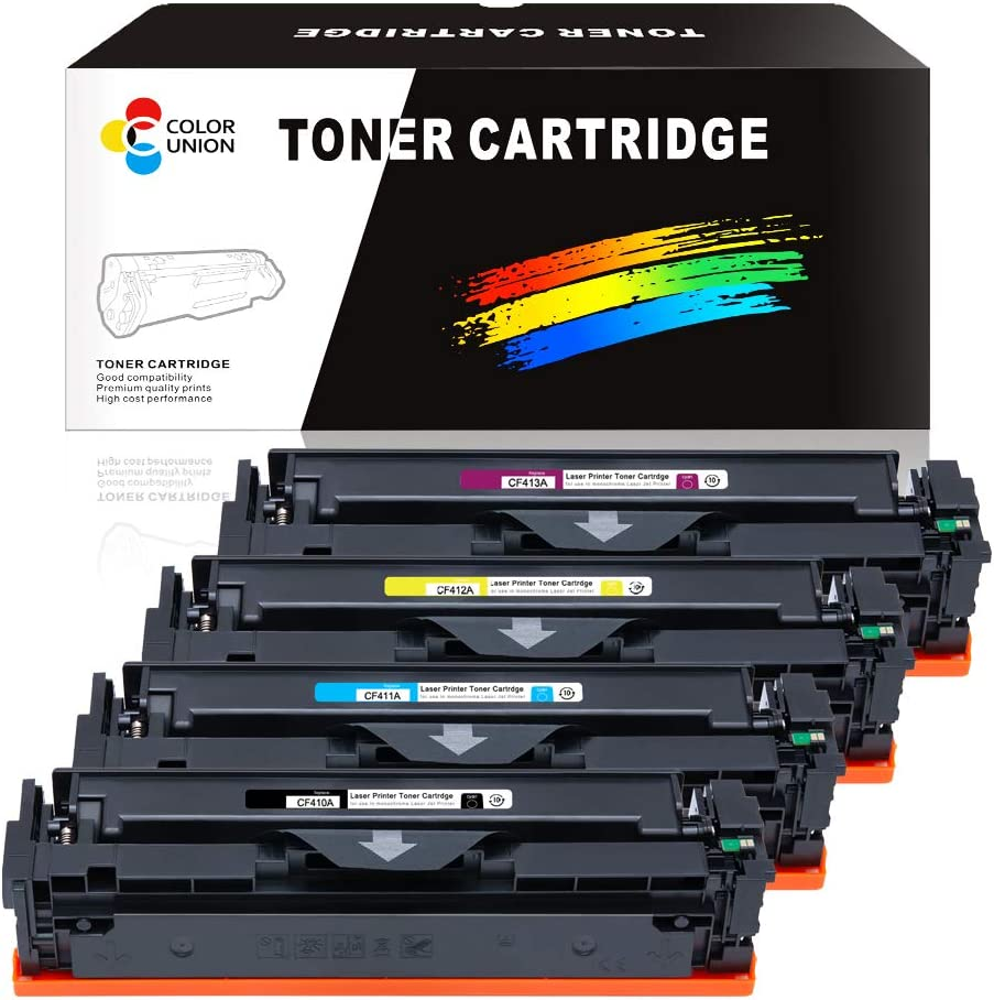 Toner Cartridge CF410A CF411A CF412A CF413A,COLORUNION 4 Pack Compatible Cartridges Replacement for HP Printer Color Laserjet Pro M452dw MFP M377dw M477fdn M477fdw (Black/Cyan/Yellow/Magenta)