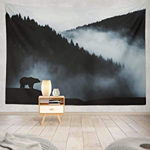 Summor Tapestry Minimal Wilderness Landscape Bear Silhouette Misty Mountains Hanging Tapestries 60 X 80 Inch Wall Hanging Decor for Bedroom Livingroom Dorm