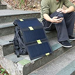 X-DRAGON High Efficency 20W Solar Panel Charger with iSolar Technology for iPhone, ipad, iPods, Samsung, Android Smartphones and More(iSolar Technology, Foldable, Portable)