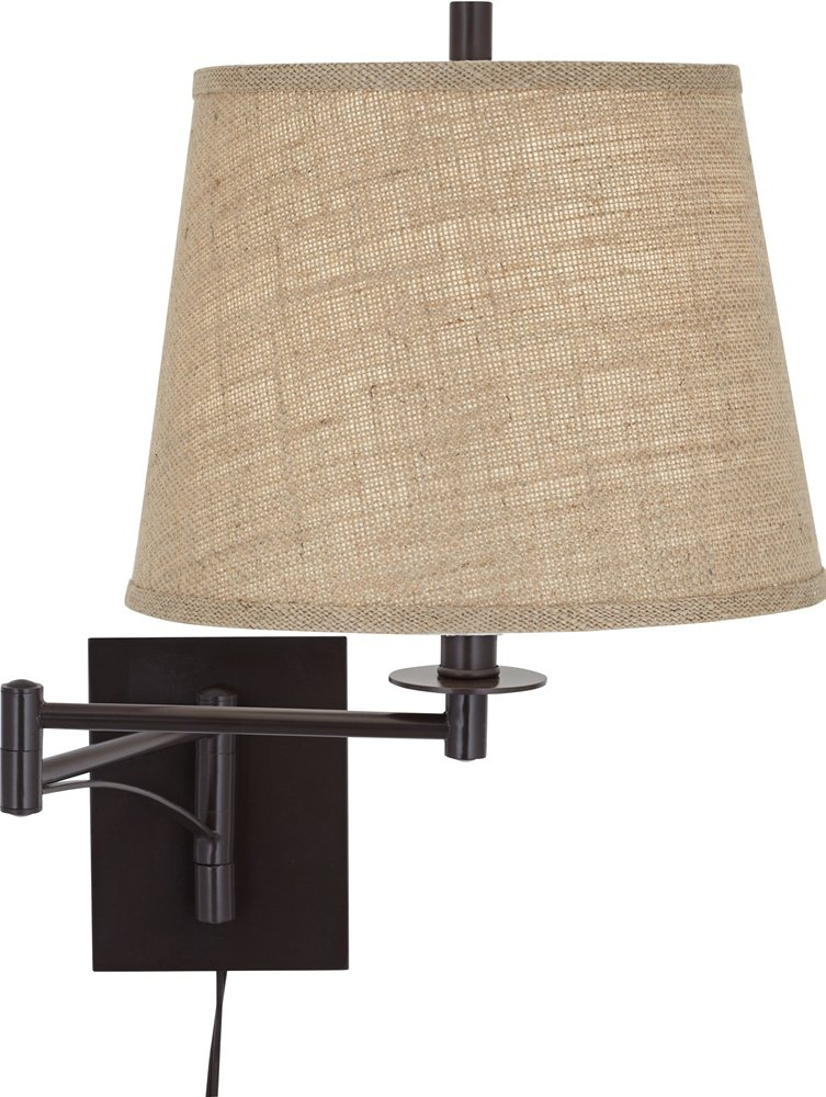 brinly burlap shade brown plug in swing arm wall lamp amazon com