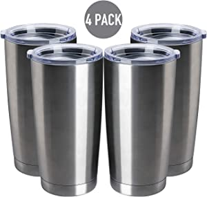 TDYDDYU 4 pack 20 OZ Double Wall Stainless Steel Vacuum Insulated Tumbler Coffee Travel Mug With Lid, Durable Powder Coated Insulated Coffee Cup for Cold & Hot Drinks (Silver, 4 pack)
