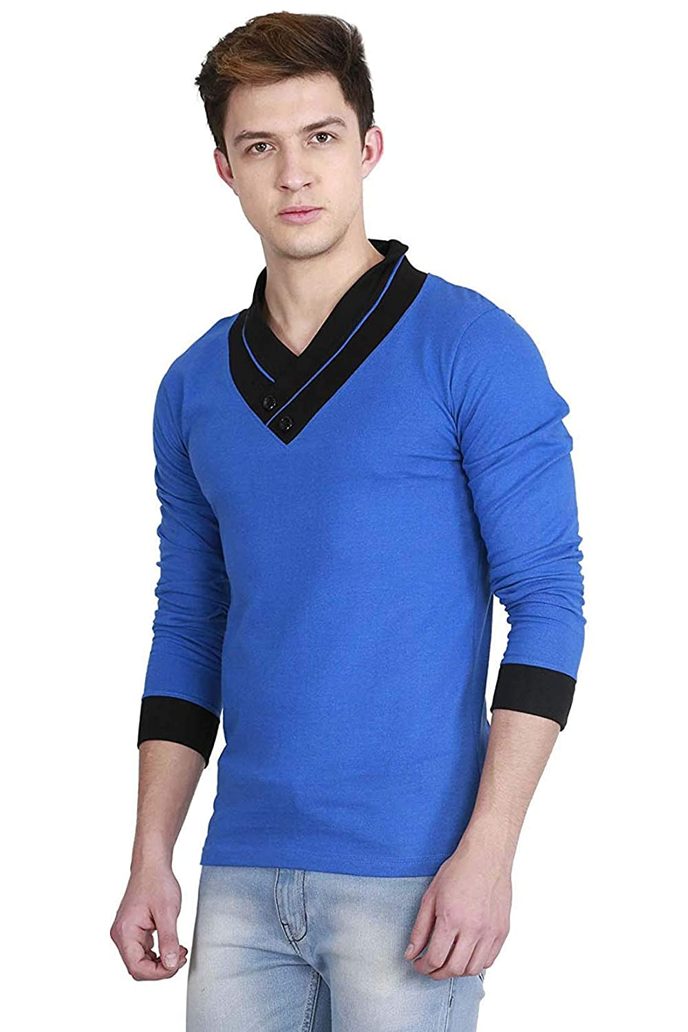 Indian Handicrfats Export Blue Solid Regular Fit Cotton Mens T-Shirt