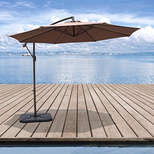 PATIOROMA 10 Feet Aluminum Offset Hanging Patio Umbrella with Crank and Cross Base, 8 Steel Ribs, Coffee (Set $200 Patio)