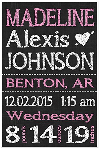 Chalkboard Art Baby Announcement Sign Birth Stats Nursery Poster